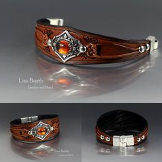 Beautiful little amber cab I bezel set in silver metal clay. The leather bracelet is hand cut, tooled, dyed and finished specifically for the focal piece. :) Lisa Barth