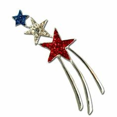 Patriotic Shooting Star Brooch/Pin Stars & Stripes Products. $15.00. 3 shooting stars. silverplate. Red, white and blue Swarovski crystals