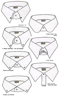 Caveat Emptor: The Shirt Collar - Rules vs. Myths Caveat Emptor: The Collar Neck - Reglas vs. Flat Drawings, Flat Sketches, Technical Drawings, Dress Sketches, Mens Shirt Pattern, Camisa Slim, Fashion Dictionary, Fashion Vocabulary, Fashion Templates
