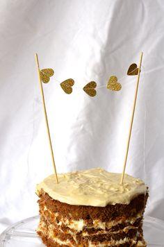 $4.00 Gold Heart Cake Topper glitter mini bunting by thePathLessTraveled