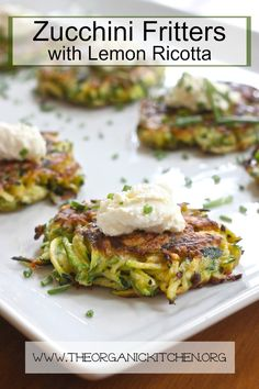 Zucchini Fritters with Lemon Ricotta (with Gluten Free Option)