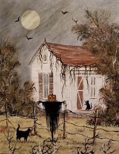 The Harvester Come To Life - Halloween Retro Halloween, Halloween Kunst, Halloween Artwork, Theme Halloween, Halloween Prints, Halloween Images, Halloween Wallpaper, Halloween Horror, Halloween Town