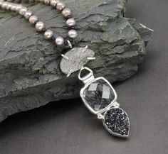 Drusy Tourmalized Quartz Freshwater Pearl and by RoxysJewelry, $198.00