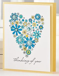 Bouquet Heart Card by @Kimberly Peterson Kesti  Make a paper TEMPLATE with a heart shaped in middle, stamp all sorts of flowers within that template.