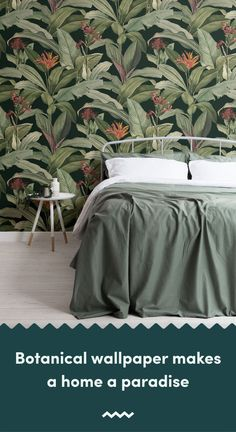 Introduce a more sophisticated take on tropical design to your space, with this exotic tropical wallpaper in green tones. Tropical Wallpaper, Beach Wallpaper, Green Wallpaper, Pattern Wallpaper, Tropical Design, Tropical Pattern, Wal Paper, Green Accents, Bespoke Design