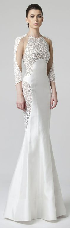 Rani Zakhem Spring 2014 wedding dress with sleeves and thick embroidery. Wedding Dresses 2014, Bridal Dresses, Wedding Gowns, Bridesmaid Dresses, Evening Dresses, Formal Dresses, White Gowns, Looks Vintage, Look Cool