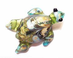 Green turtle necklace, Lampwork Glass Beads, Organic Shiny Sea Turtle Glass Pendant, SRA jewelry, lamp work glassbead, tt team, SRAJD
