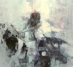 """Violet Rosette"" 36 x 33 inches - Oil on Panel - Jeremy Mann"