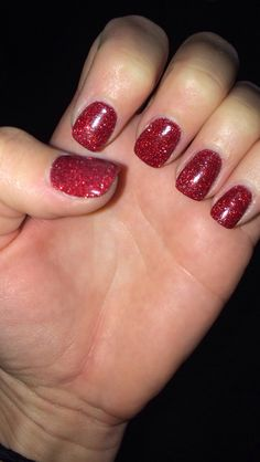 Red Glitter SNS Nails