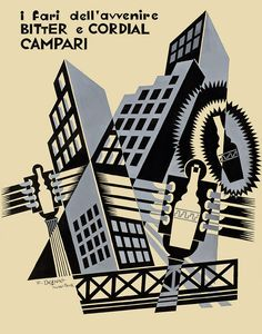 Fortunato Depero, The Stoplights of the Future Bitter and Cordial Campari (I fari dell'avvenire Bitter e Cordial Campari), 1931. India ink o...