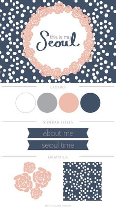 Blog Design; medium grey, navy blue, and pink. Love the color pallet. Maybe use a dulled out green instead of pink?