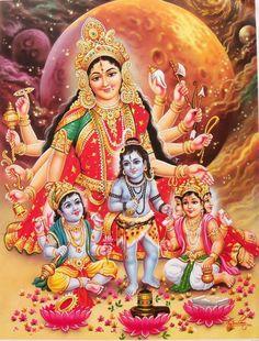 Durga with Baby Vishnu,Shiv,Brahmha Durga Images, Lakshmi Images, Lord Krishna Images, Maa Durga Image, Durga Maa, Maa Image, Jai Hanuman, Indian Goddess, Goddess Lakshmi