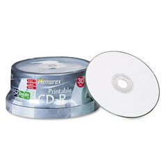 Memorex : Disc CD-R 80 min WHT printable Matte 52X 30/PK spindle52X 30/PK spindle -:- Sold as 2 Packs of - 30 - / - Total of 60 Each by Memorex. $47.54. Memorex : Disc CD-R 80 min WHT printable Matte 52X 30/PK spindle52X 30/PK spindle  Memorex Ink Jet Printable Surface CD-Rs allow you to print directly onto CD-R discs using direct printing ink jet printers providing a professional disc print.undefinedundefined 80 minutes / 700 MB:Manufactured by.: Memorex