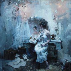 Jeremy Mann, A Long Abandoned Dream, Oil on Panel, 48 x 48 inches, 2013
