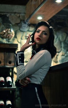 Elizabeth from BioShock Infinite: Burial at Sea by the nice Angela Bermúdez A.I& in love with the atmosphere. Photo by Andres Herrera. Women Smoking, Girl Smoking, Smoking Pics, Bioshock Elizabeth, Elizabeth Cosplay, Warframe Art, Bioshock Cosplay, Pinterest Girls, Survival