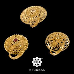 Parasol Cocktail Rings: Here's a trio of our own creations, imaginatively handcrafted in pure 22K gold ------ an interpretation of the western model and our way of tweaking those already available in the market to make them truly special. We don't know about that slinky red dress but they'll go with just about any Indian ensemble and, for those daring enough, with a sizzling tango in a saree, not in a club, not in a restaurant, but on the street under the stars on a full moon night, like…
