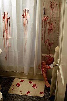 'ThinkGeek :: Horror Movie Shower Curtain & Bath Mat' #bloody #bathroom #forthehome