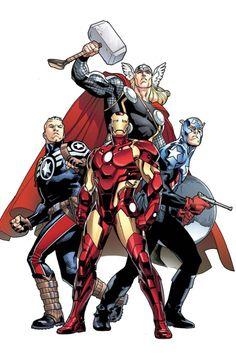 "Avengers:Steve Rogers,Thor,Iron Man,and Captain America(James""Bucky""Barnes)by Stuart Immonem"