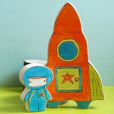 Wooden Star House Rocket Ship and Space Boy - for the eco-friendly space explorer