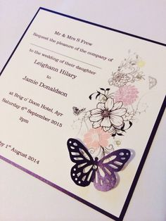 Butterfly themed flat card invites by Made Marvellous. Handmade Wedding Invitations, Invites, Butterfly, Colour, Flat, Cards, Color, Bass, Homemade Wedding Invitations