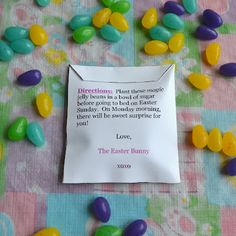 Magic Jelly Beans template for Lollipop surprise. I like the idea of having something fun the day after easter but also like the idea of buying the magic jelly beans and planting the night before easter. Either way, I love the idea.