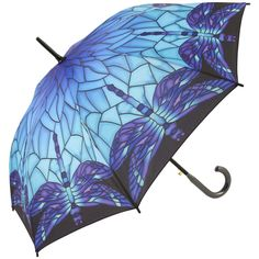 Galleria Art Print Walking Length Umbrella - Stained Glass Blue - Brolliesgalore