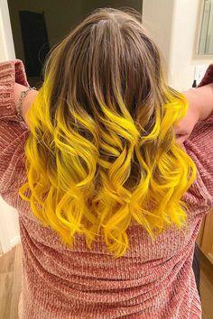 Orange Ombre Hair, Yellow Hair Color, Cute Hair Colors, Cool Hair Color, Peekaboo Hair, Dyed Tips, Arctic Fox Hair Color, Permanent Hair Dye, Brown Blonde Hair