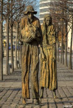 The Famine Memorial. Dublin by Jaime GP on DESCRIPTION The emigrant sculptures are in memory of the native Irish who were forced into emigration during the Great Famine years. Between 1845 and 1852 over a million left Ireland to escape starvation. Bronze, Statues, Irish Famine, Erin Go Bragh, Irish Roots, Irish Eyes, Irish Celtic, Wow Art, Emerald Isle