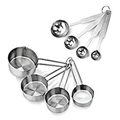 New Star Foodservice 42917 Stainless Steel Measuring Spoons and Measuring Cups Combo Set of 8 Sugar Water For Hummingbirds, Parfait, Hummingbird Food, Hummingbird Nectar, Cheap Christmas Gifts, Christmas Paper, Diy Gift Baskets, New Star, Mini Desserts