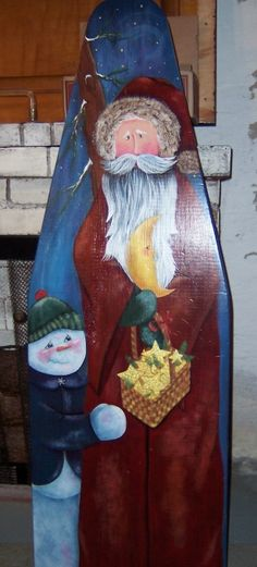 santa on old ironing board - This would be cute for a door if you used a small ironing board Painted Ironing Board, Vintage Ironing Boards, Primitive Santa, Primitive Christmas, Christmas Love, Christmas Things, Christmas Ornament, Xmas, Ornaments