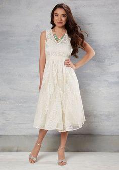 Got It on Wedlock Lace Dress in Ivory | Mod Retro Vintage Dresses | ModCloth.com