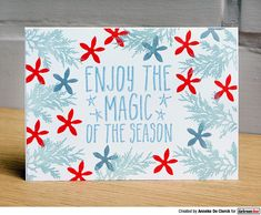 Card by Anneke De Clerck using Darkroom Door Enjoy The Magic Small Stamp, Christmas Bush and Pine Leaf Stamps. Blue and red Christmas card Pine Leaf, Christmas Cards, Red Christmas, Great Friends, Hand Stamped, Magic, Creative, Projects, Stamps
