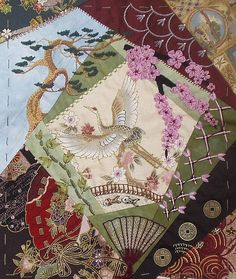 crazy quilting-by Jo in NZ-this is one side of a tote bag made for a swap.