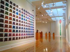 Our Marsh Gallery, seen through the Cox Gallery.  Artwork: Arny Nadler, Sherwin Rivera Tibayan, & Mel Watkin.