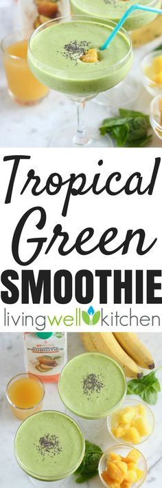 Tropical Green Smoothie from @memeinge made with @goodbelly is a delicious, dairy free smoothie full of fruits and veggies plus probiotics which can help keep your immune system humming and your stomach happy. Gluten free, vegetarian, and vegan breakfast or healthy snack recipe. (This is a sponsored recipe contest entry)