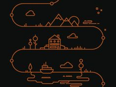 to resolve project - Tim Boelaars - I like the way in which this design uses one line to mark important land marks. A simple yet effective design. Illustration Inspiration, Line Illustration, Graphic Design Illustration, Graphic Design Inspiration, Graphisches Design, Game Design, Icon Design, Logo Design, Timeline Design