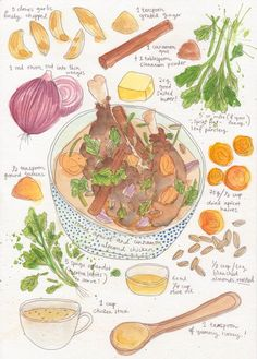 Okay these hand drawn recipes by Dawn Tan are the best thing ever!