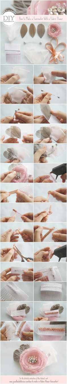 DIY Wedding Tutorial: How to Make a Fabric Flower Fascinator by Jewelboxballerina.com pinned by wedding specialists http://dazzlemeelegant.com