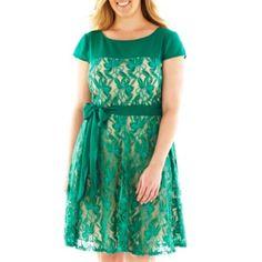 Danny & Nicole® Lace Dress with Sash Tie - Plus