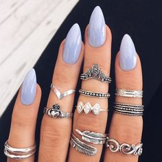 Baby blue nails.
