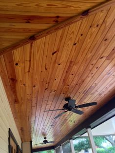 Tongue and groove pine ceiling by JB Precision Carpentry Inc. Cedar Tongue And Groove, Tongue And Groove Ceiling, Bois Intarsia, Porch Addition, Porch Columns, Pallet Walls, White Cedar, Pole Barn Homes, House With Porch