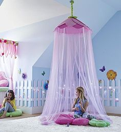 Secret Garden Hideaway Bed Canopy Hanging Play Tent for Kids Bedroom, 7' H with 12' Bottom Circumference - Pink
