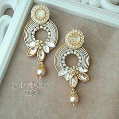 Soutache Pendant, Soutache Earrings, Diy Earrings, Fashion Earrings, Earrings Handmade, Handmade Jewelry, Fashion Jewelry, Boho Jewelry, Bridal Jewelry