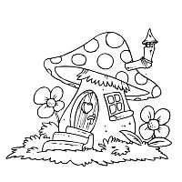 Mushroom House » Coloring Pages » Surfnetkids