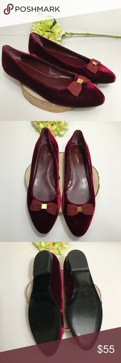984632420aeb3c Brooks Brothers Burgundy Velvet Bow Flats Shoes Brooks Brothers Wine  Burgundy Velvet W  Bow Accent