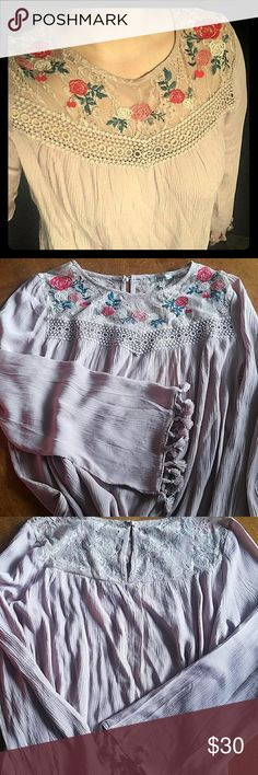 Must have peasant top with stunning lace detail😍. This top is new with tags.  Absolutely gorgeous lace; embroidery and crochet details at the top.  Truly one of a kind with details on the cuff of the shirt. Beautiful light mauve or dark blush color! 😍 Jodifl Tops Blouses
