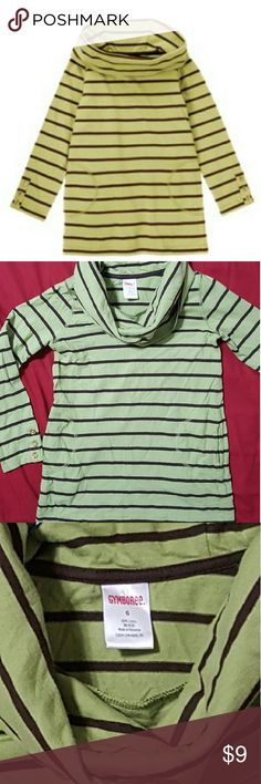*LIKE NEW* Gymboree LS Tee Cowl Neckline Girls 6 Gymboree Long Sleeve Tee from the Fall Homecoming Line. Green with brown stripes and cowl style neckline there is also two small pockets to warm hands on the right and left lower seam line.  Girls Sz: 6  LIKE  NEW CONDITION Gymboree Shirts & Tops Tees - Long Sleeve
