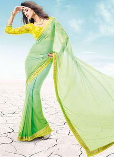 Cbazaar Fabulous Sonakshi R Rajkumar Green Georgette Saree