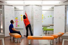 creative space design thinking stanford Design Thinking, Creative Thinking, Hanging Room Dividers, Sliding Room Dividers, Wall Dividers, Sliding Doors, Coworking Space, Office Interior Design, Office Interiors