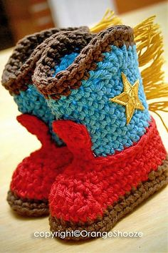 knitted cowboy booties - Google Search